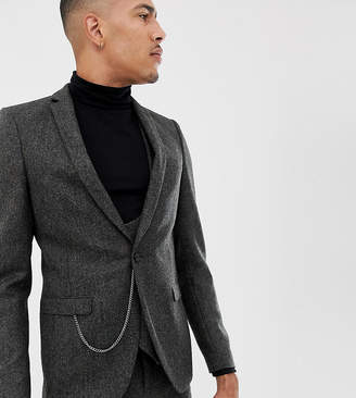 Twisted Tailor super skinny suit jacket in charcoal donegal tweed-Gray
