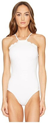 Kate Spade Core Solids #79 Scalloped High Neck One-Piece w/ Removable Soft Cups (White) Women's Swimsuits One Piece