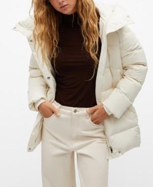 MANGO Women's Feather Down Hooded Coat