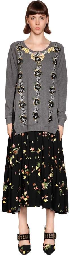 Antonio Marras Embellished Floral Viscose Crepe Dress