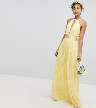 TFNC Tall Pleated Maxi Bridesmaid Dress with Cross Back and Bow Detail