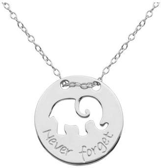 "Prime Art & Jewel Fine Silver Plated Bronze 'Never Forget' Elephant Necklace with 18+2"" Chain"