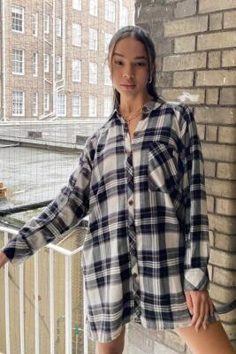 Urban Outfitters Ashley Check Shirt Dress - Black XS at