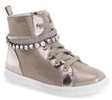 Stuart Weitzman Girl's 'Heather' Crystal Embellished High Top Sneaker