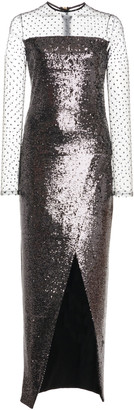 Balmain Illusion-Neckline Sequined Dress