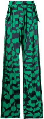 MATÉRIEL Ink Print Pleated Palazzo Pants