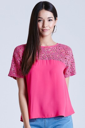 Girls On Film Pink Floral Lace Bow Back Top