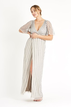Lace & Beads hand embellished wrap effect maxi dress with waterfall sleeves
