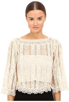 RED Valentino Point D'Esprit Macrame Ribbons Blouse Women's Blouse