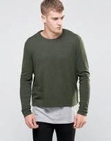 Asos Cropped Sweater in Khaki Cotton
