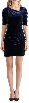 Shoshanna Allen Ruched Stretch Velvet Dress
