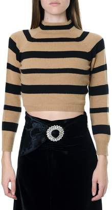 Miu Miu Black & Camel Striped Virgin Wool Knitwear