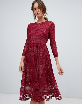 Asos Design DESIGN Premium lace midi skater dress-Red