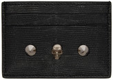 Alexander McQueen Black Lizard Skull and Stud Card Holder