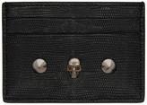 Alexander McQueen Black Lizard Skull and Stud Card Holder