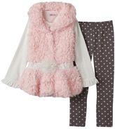 Little Lass Girls 4-6x Faux-Fur Vest, Tee & Floral Dotted Leggings Set