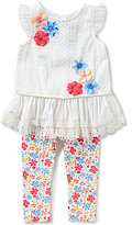 Rare Editions Baby Girls 3-24 Months Flower Embellished Tunic and Floral-Printed Leggings Set