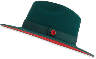 Keith and James Queen Red-Brim Wool Fedora Hat, Green