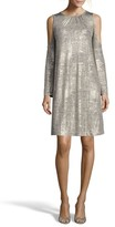 ECI Women's Foil Cold Shoulder Shift Dress