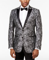 Tallia Men's Slim-Fit Black/Silver Paisley Dinner Jacket