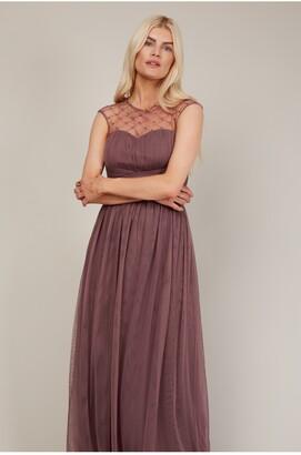 Little Mistress Bridesmaid Justice Deep Mink Embellished Maxi Dress