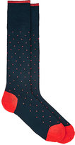 Barneys New York MEN'S DOT-PATTERN COTTON-BLEND KNEE SOCKS