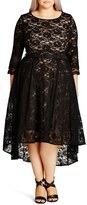 City Chic Plus Size Women's 'Lace Lover' High/low Midi Dress