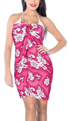 """LA LEELA Women's Beach Bikini Sarong Wrap Scarfs for Face Cover Scarves Shawls Pareo Floral Hibiscus Guitar Printed Multipurpose Sheer Dress Cover up Wrap Skirt 43""""X32"""" Pink_Y53"""
