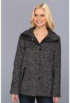 Ellen Tracy Snap Front Swing Herringbone Coat (Black/White) - Apparel