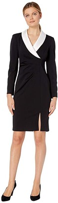 Adrianna Papell Knit Crepe and Satin Sheath (Black/Ivory) Women's Dress