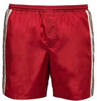 Gucci GG Supreme Logo Swim Shorts - Mens - Red Multi