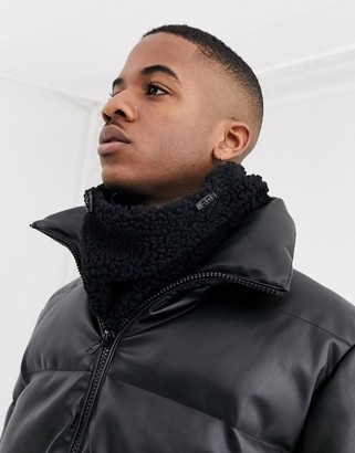 ASOS DESIGN infinity scarf in black borg and nylon with toggle detail