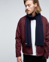 Lacoste Wool Scarf In Navy