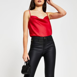 River Island Womens Red sleeveless cowl neck cami top