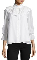 Marc Jacobs Poplin Blouse w/Lace Collar, White