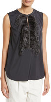 Brunello Cucinelli Feather-Embellished Sleeveless Top