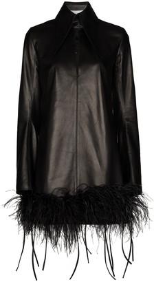 16Arlington Feather-Trim Leather Mini Dress