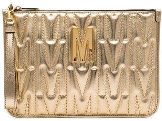 Moschino logo-embellished embossed leather clutch