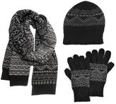 Muk Luks Men's Nordic Knit Hat, Scarf, and Texting Glove Set - Black