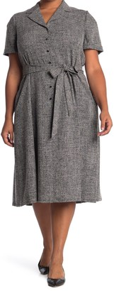 Anne Klein Tweed Belted Button Front Dress