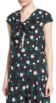 Carolina Herrera Cap-Sleeve Floral-Print Blouse, Green/White