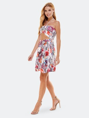 Bebe Strapless Tie Front Flare Dress