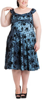 Blue Bird Flocking Fit & Flare Dress - Plus