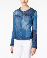 INC International Concepts Patchwork Denim Trucker Jacket, Created for Macy's