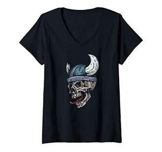 Nordic Womens Viking Gift Skull Warrior Sport Norse Helmet Art V-Neck T-Shirt