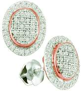 DazzlingRock Collection 0.25 Carat (ctw) 10k White Gold Round White Diamond Ladies Micro Pave Oval Shape Earrings