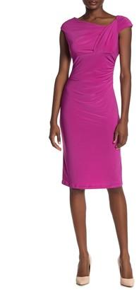 Marina Ruched Cap Sleeve Sheath Dress