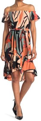 London Times Off-the-Shoulder Geometric Print Flounce Dress