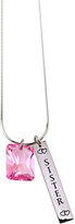 Pink Cubic Zirconia & Stainless Steel 'Sister' Pendant Necklace