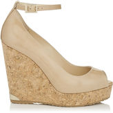 Jimmy Choo PACIFIC 120 Nude Suede Peep Toe Sandals with Lasered Cork Covered Wedge